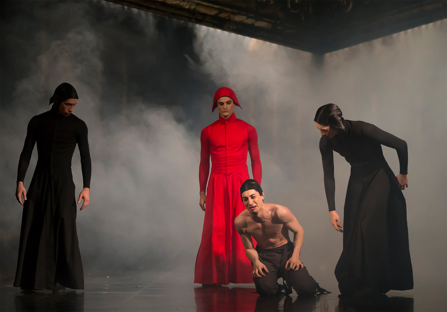 Lorenzo Trossello, Nicola Gervasi And Alexander Yap As Servants Of The Inquisition With Liam Morris As Father Balbi In Casanova. Photo Emma Kauldhar