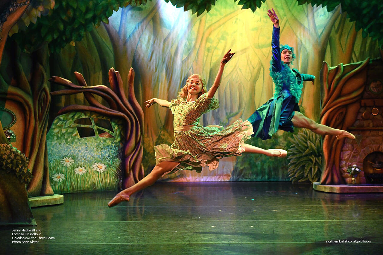 Goldilocks And The Three Bears - Northern Ballet - Jenny Hackwell As Goldilocks And Lorenzo Trossello As Blue Bird. Photo Brian Slate