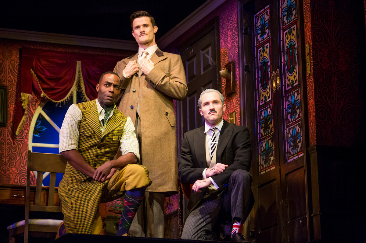 The Play That Goes Wrong, Duchess Theatre, West End, London, Dir. Mark Bell	Des.	Nigel Hook, Lighting Ric Mountjoy, Photo Jeremy Daniel