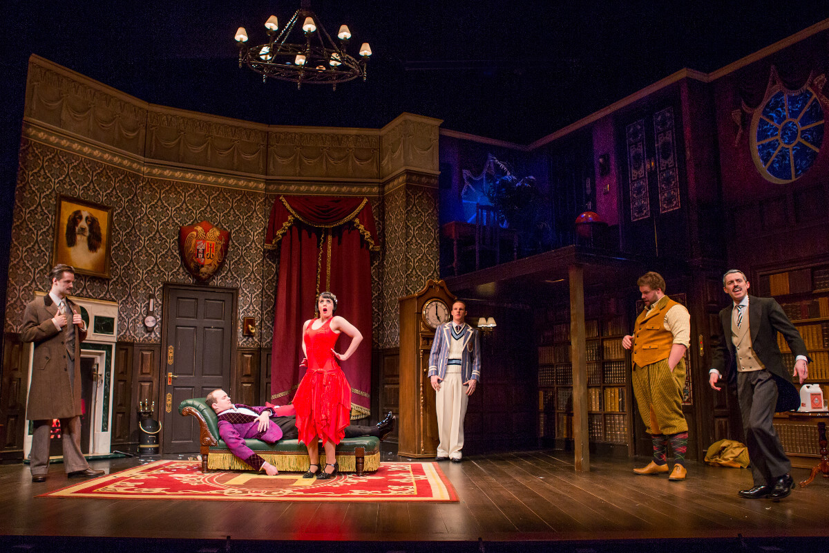 The Play That Goes Wrong	Lyceum Theatre, Broadway, New York	Dir.	Mark Bell	Des.	Nigel Hook	Lighting Ric Mountjoy	Photo	Jeremy Daniel